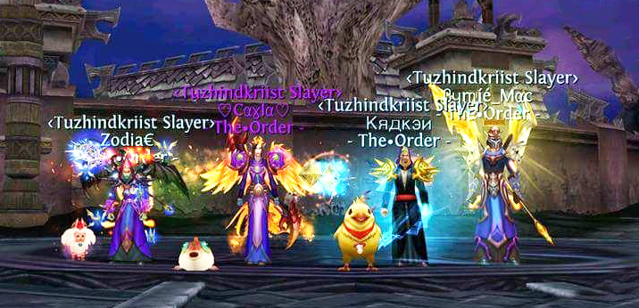 Cayla (the guild leader) with her guildies from The Order – one of the oldest and most powerful guilds in Order and Chaos Online.